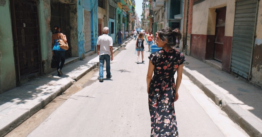walking through the streets of Havana Cuba