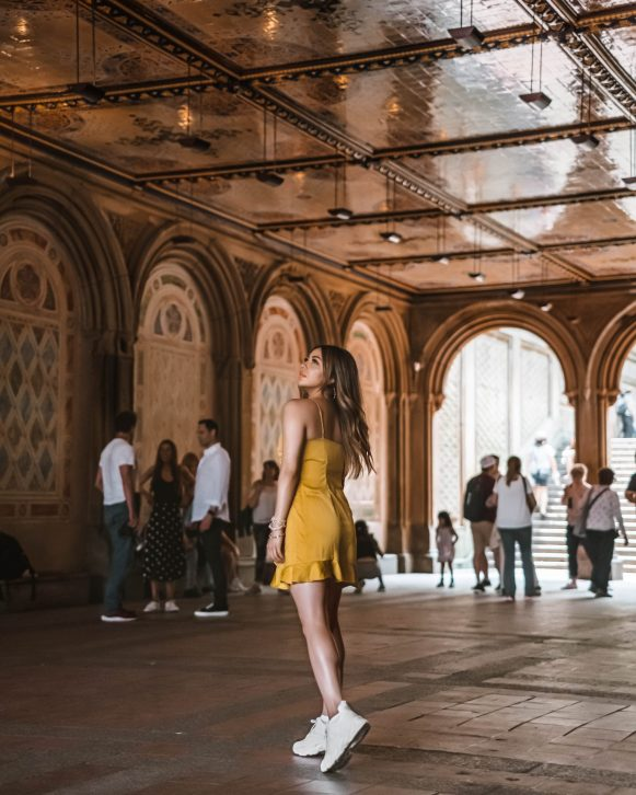 cindyycheeks admiring the ceiling art from Bethesda Terrace in Central Park, NYC