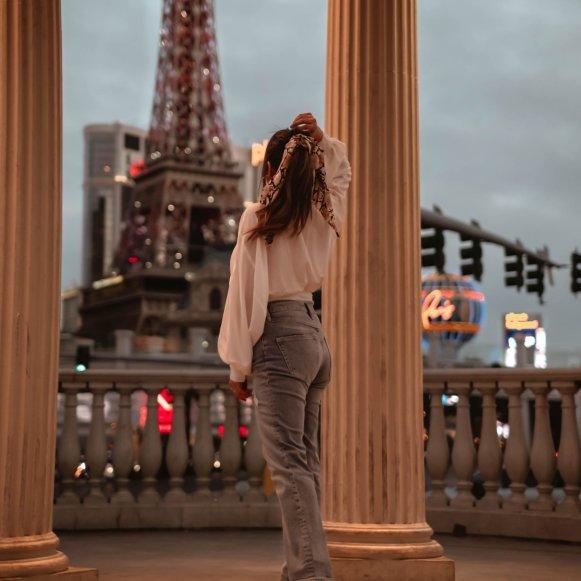 views the Eiffel Tower in Las Vegas