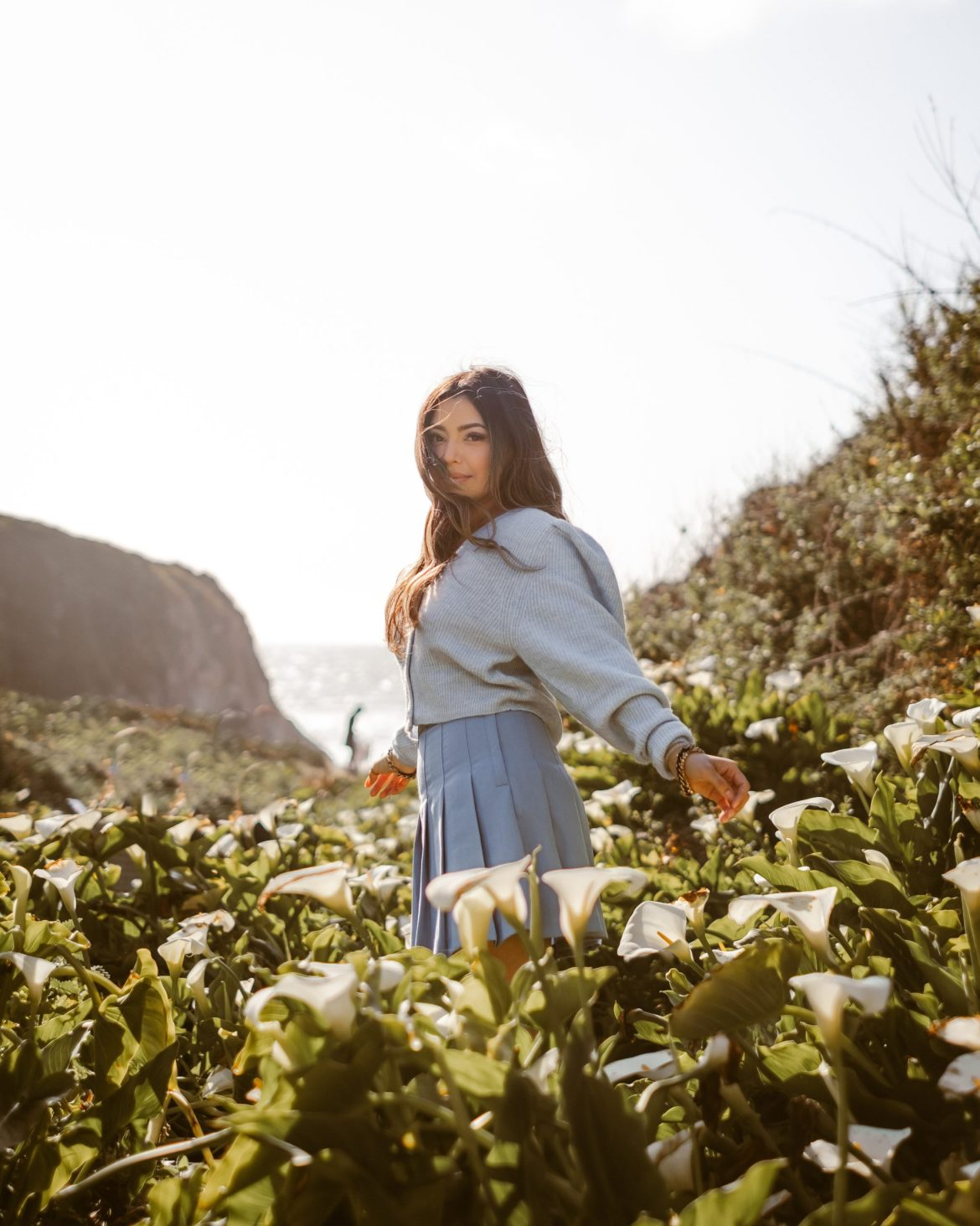 Baby Blues in Big Sur - Big Sur outfit, Big Sur photoshoot, Calla Lily Valley, California outfit