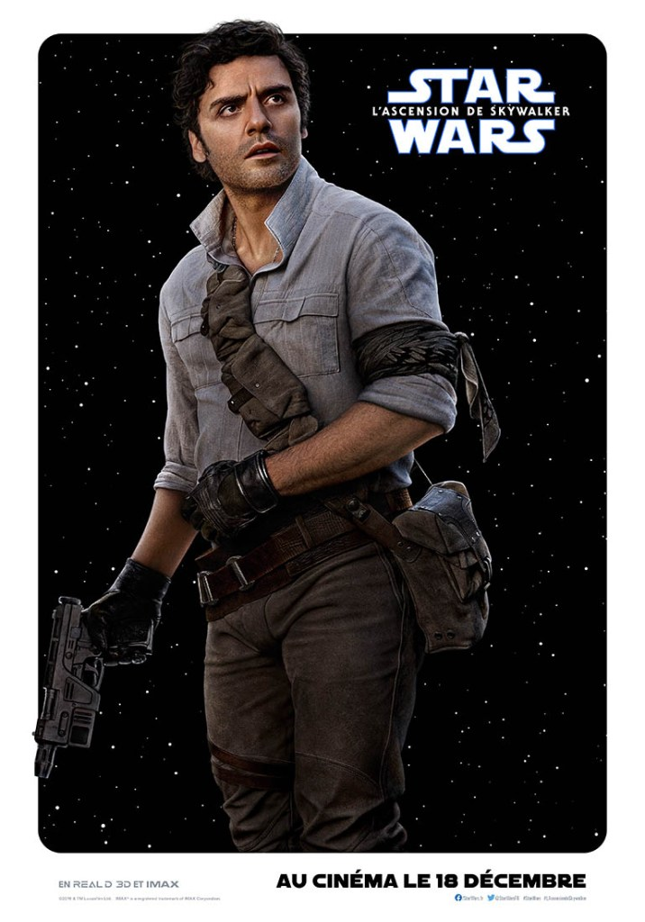 Osxar Isaac dans Star Wars l'ascension de Skywalker - affiche personnage