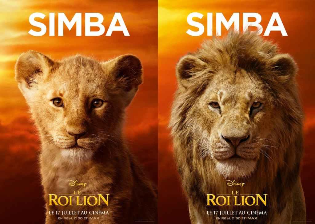 Affiches simba jeune et adulte dans Le Roi Lion