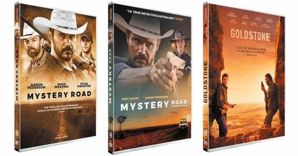 Les jaquettes de Mystery road, la série, le film, et Goldstone