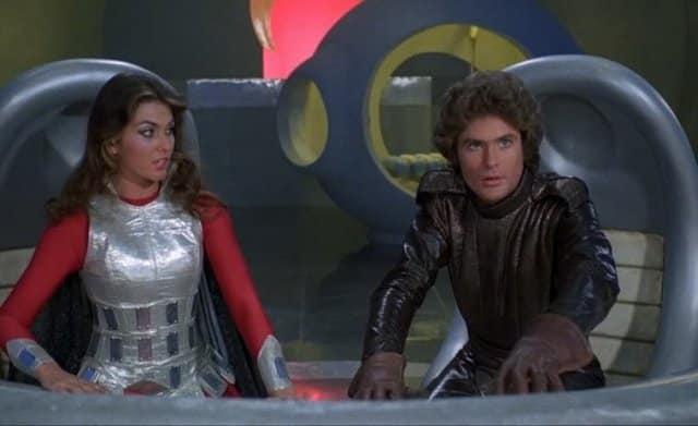 Caroline Munro et David Hasselhoff dans Star Crash, le choc des etoiles