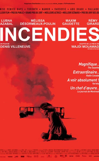 Incendie, affiche du chef d'oeuvre de Denis Villeneuve