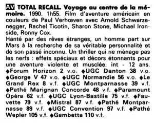 Total Recall et les salles le diffusant lors de sa première semaine d'exploitation parisienne