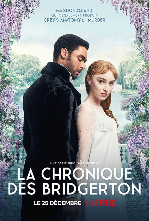 Regé-Jean Page et Phoebe Dynevor dans La chronique de Bridgerton (affiche Netflix)