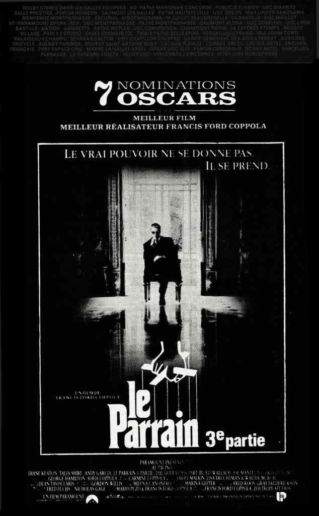 Le Parrain III, promo Pariscope 1991