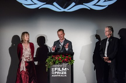 Ali's Wedding director Jeffrey Walker accepting the Film Prize Award