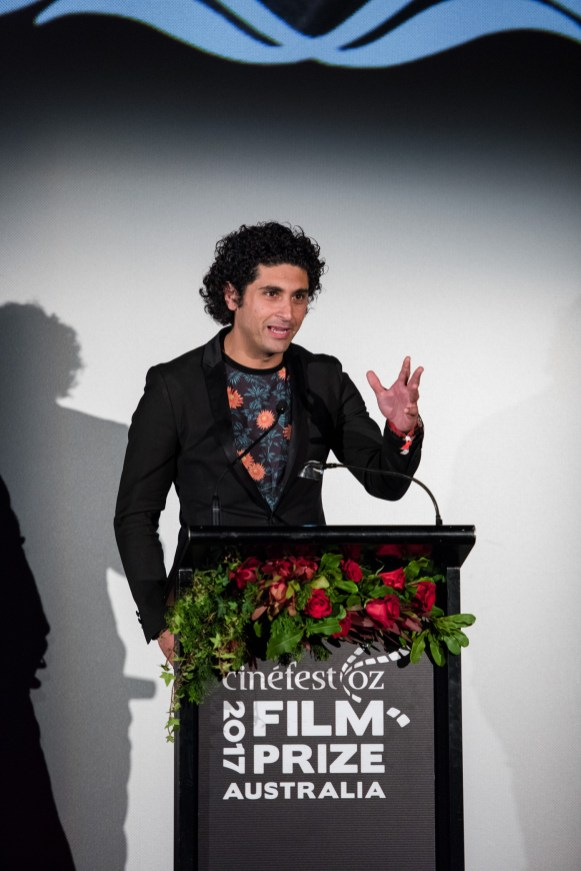 Ali's Wedding lead actor and writer Osamah Sami accepting the Film Prize Award
