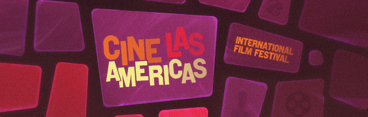 Cine Las Americas International Film Festival poster with various squares representing the virtual component of the festival.