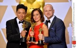 Mandatory Credit: Photo by FeatureflashSHM/REX/Shutterstock (9448660o) Kazuhiro Tsuji, Lucy Sibbick & David Malinowski 90th Academy Awards, Press Room, Los Angeles 4 Mar 2018