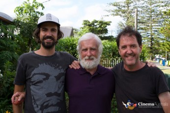 Robin Queree has one final photo with the director Tim Blackburn and writer Chris Blackburn before wrapping.
