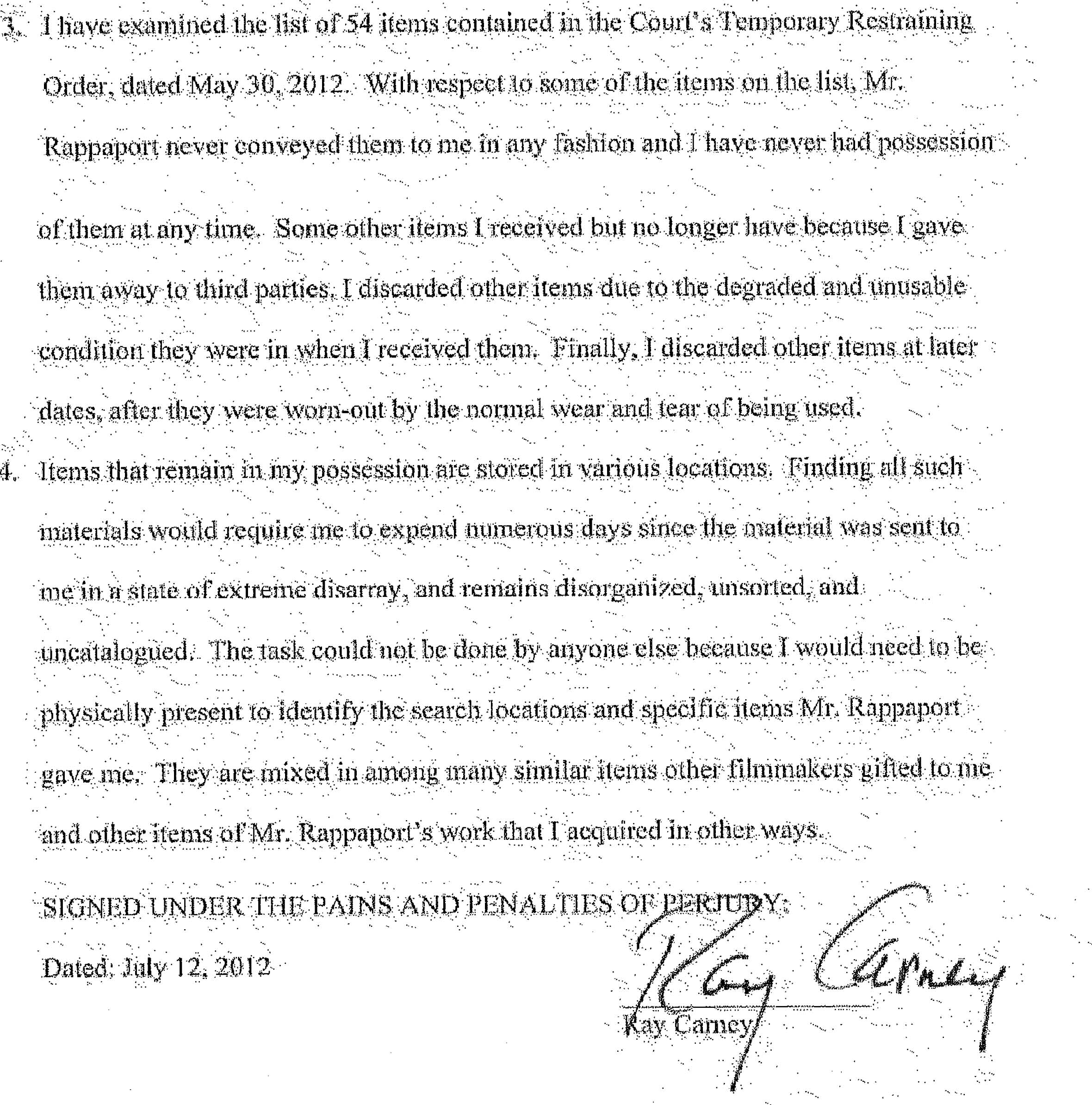 Example Affidavit