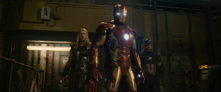 Marvel's Avengers: Age Of Ultron L to R: Thor (Chris Hemsworth), Iron Man/Tony Stark (Robert Downey Jr.) and Captain America/Steve Rogers (Chris Evans)  Ph: Film Frame ©Marvel 2015