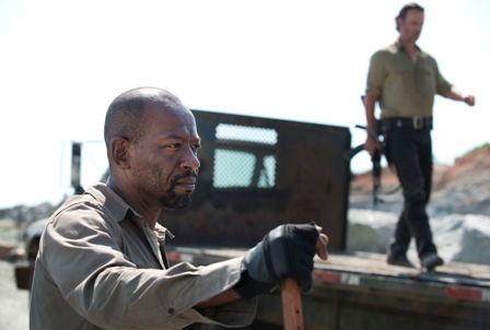 Lennie James as Morgan and Andrew Lincoln as Rick Grimes - The Walking Dead _ Season 6, Episode 1 - Photo Credit: Gene Page/AMC