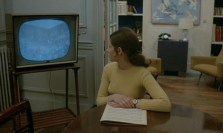 Christine at home, with a demonstration on TV
