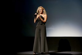 """Tori Kelly performs at Universal Pictures """"Sing"""" at the 2016 Toronto International Film Festival on Sunday, Sept. 11, 2016, in Toronto. (Photo by Eric Charbonneau/Invision for Universal Pictures/AP Images)"""