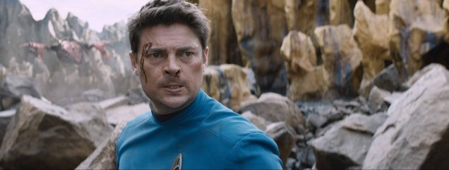 Karl Urban plays Bones in Star Trek Beyond from Paramount Pictures, Skydance, Bad Robot, Sneaky Shark and Perfect Storm Entertainment.