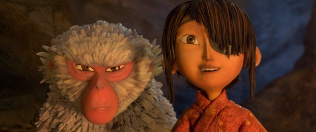 1800.0530.still.laika.0001 (l-r.) Monkey (voiced by Academy Award winner Charlize Theron) situates herself protectively alongside Kubo (Art Parkinson) in animation studio LAIKA's epic action-adventure KUBO AND THE TWO STRINGS, a Focus Features release. Credit: Laika Studios/Focus Features