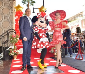 LOS ANGELES, CA - JANUARY 22: Disney Chairman and Chief Executive Officer Robert A. Iger and Katy Perry attend ceremony for Minnie Mouse as she receives Star on Hollywood Walk of Fame in Celebration of her 90th Anniversary at El Capitan Theatre on January 22, 2018 in Los Angeles, California. (Photo by Stefanie Keenan/Getty Images for Disney )