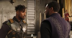 Marvel Studios' BLACK PANTHER L to R: Erik Killmonger (Michael B. Jordan) and T'Challa/Black Panther (Chadwick Boseman) Ph: Film Frame ©Marvel Studios 2018