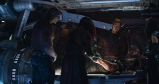 Marvel Studios' AVENGERS: INFINITY WAR..L to R: Drax (Dave Bautista), Gamora (Zoe Saldana), Star-Lord/Peter Quill (Chris Pratt), Rocket (voiced by Bradley Cooper), Thor (Chris Hemsworth) and Mantis (Pom Klementieff)..Photo: Film Frame..©Marvel Studios 2018