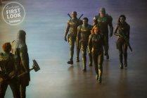 Marvel Studios' CAPTAIN MARVEL L to R: Leader of Starforce (Jude Law), Ronan (Lee Pace), Korath (Djimon Hounsou), Att-Lass (Algenis Perez Soto), Carol Danvers/Captain Marvel (Brie Larson), Bron-Char (Rune Temte) and Minn-Erva (Gemma Chan)