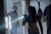 Danai Gurira as Michonne, Kevin Carroll as Virgil - The Walking Dead _ Season 10 - Photo Credit: Eliza Morse/AMC