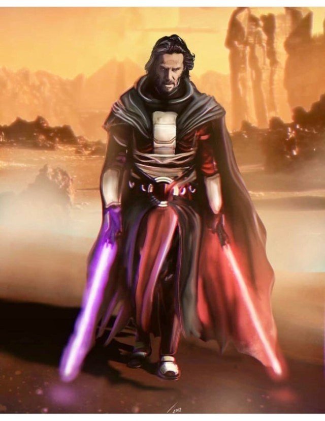 fan art de keanu reeves como darth revan