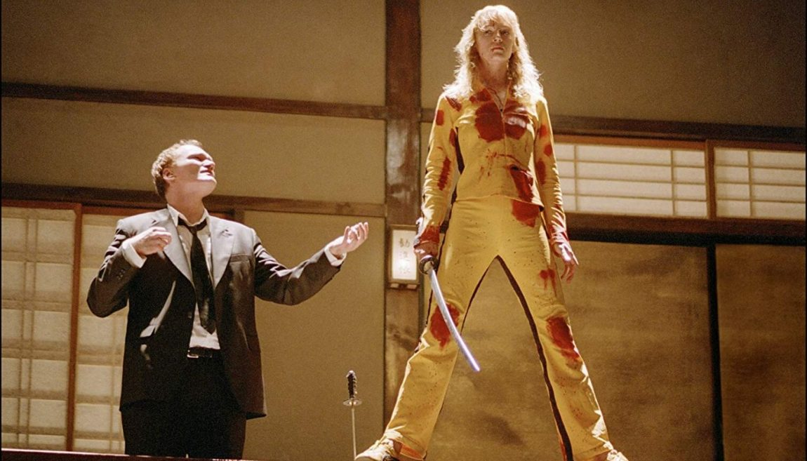quentin tarantino y uma thurman en el set de kill bill