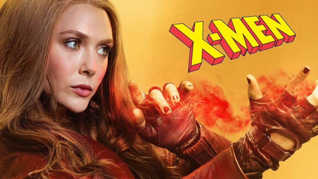 Elizabeth Olsen como Scarlet Wicth con logo de X-Men