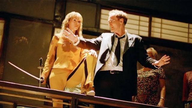 Fotografía de Quentin Tarantino y Uma Thurman en Kill Bill