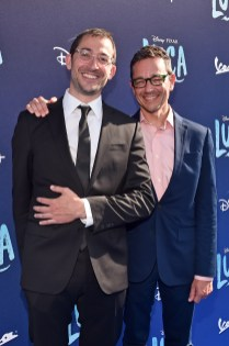 LOS ANGELES, CALIFORNIA - JUNE 17: (L-R) Jesse Andrews and Mike Jones arrive at the world premiere for LUCA, held at the El Capitan Theatre in Hollywood, California on June 17, 2021. (Photo by Alberto E. Rodriguez/Getty Images for Disney)