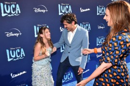 LOS ANGELES, CALIFORNIA - JUNE 17: (L-R) Emma Berman, Enrico Casarosa, and Andrea Warren arrive at the world premiere for LUCA, held at the El Capitan Theatre in Hollywood, California on June 17, 2021. (Photo by Alberto E. Rodriguez/Getty Images for Disney)