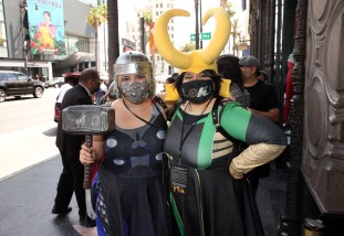 LOS ANGELES, CALIFORNIA - JUNE 08: Guests in cosplay attend the Loki Global Fan Event at El Capitan Theatre on June 08, 2021 in Los Angeles, California. (Photo by Jesse Grant/Getty Images for Disney )