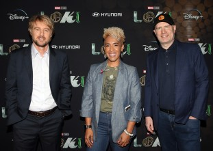 LOS ANGELES, CALIFORNIA - JUNE 08: (L-R) Owen Wilson, Angélique Roché, and Kevin Feige attend the Loki Global Fan Event at El Capitan Theatre on June 08, 2021 in Los Angeles, California. (Photo by Jesse Grant/Getty Images for Disney )