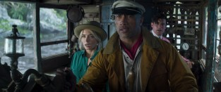 (L-R): Emily Blunt as Lily Houghton, Dwayne Johnson as Frank Wolff and Jack Whitehall as MacGregor Houghton in Disney's JUNGLE CRUISE. Photo courtesy of Disney. © 2021 Disney Enterprises, Inc. All Rights Reserved.
