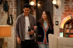 Pictured (L-R): Rushi Kota as Luke and Miranda Cosgrove as Carly of the Paramount+ series iCARLY. Photo Cr: Lisa Rose/Paramount+ ©2021, All Rights Reserved.