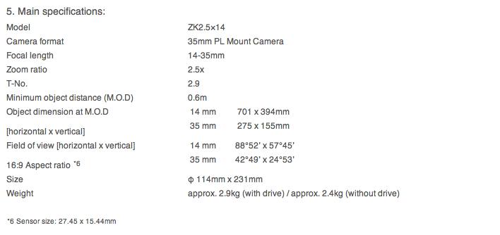 FUJINON ZK2.5 x 14 Specs