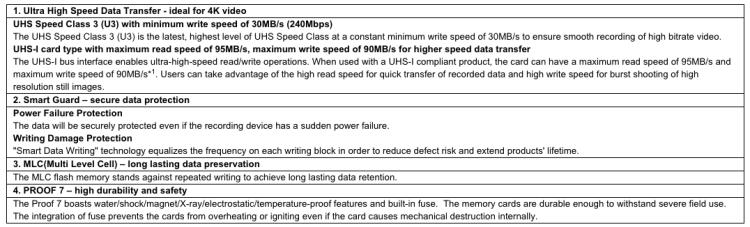 Panasonic SDXC SDHC UHS-I Memory Card 4K Video Recording