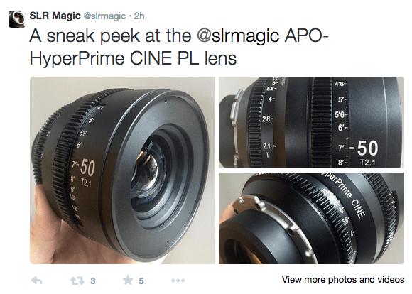 SLR Magic APO-HyperPrime CINE PL lens Twitter