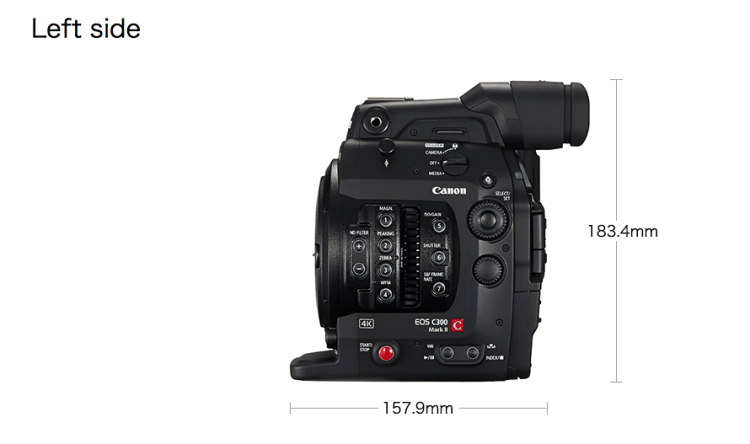 4K Canon C300 MKII Left Side