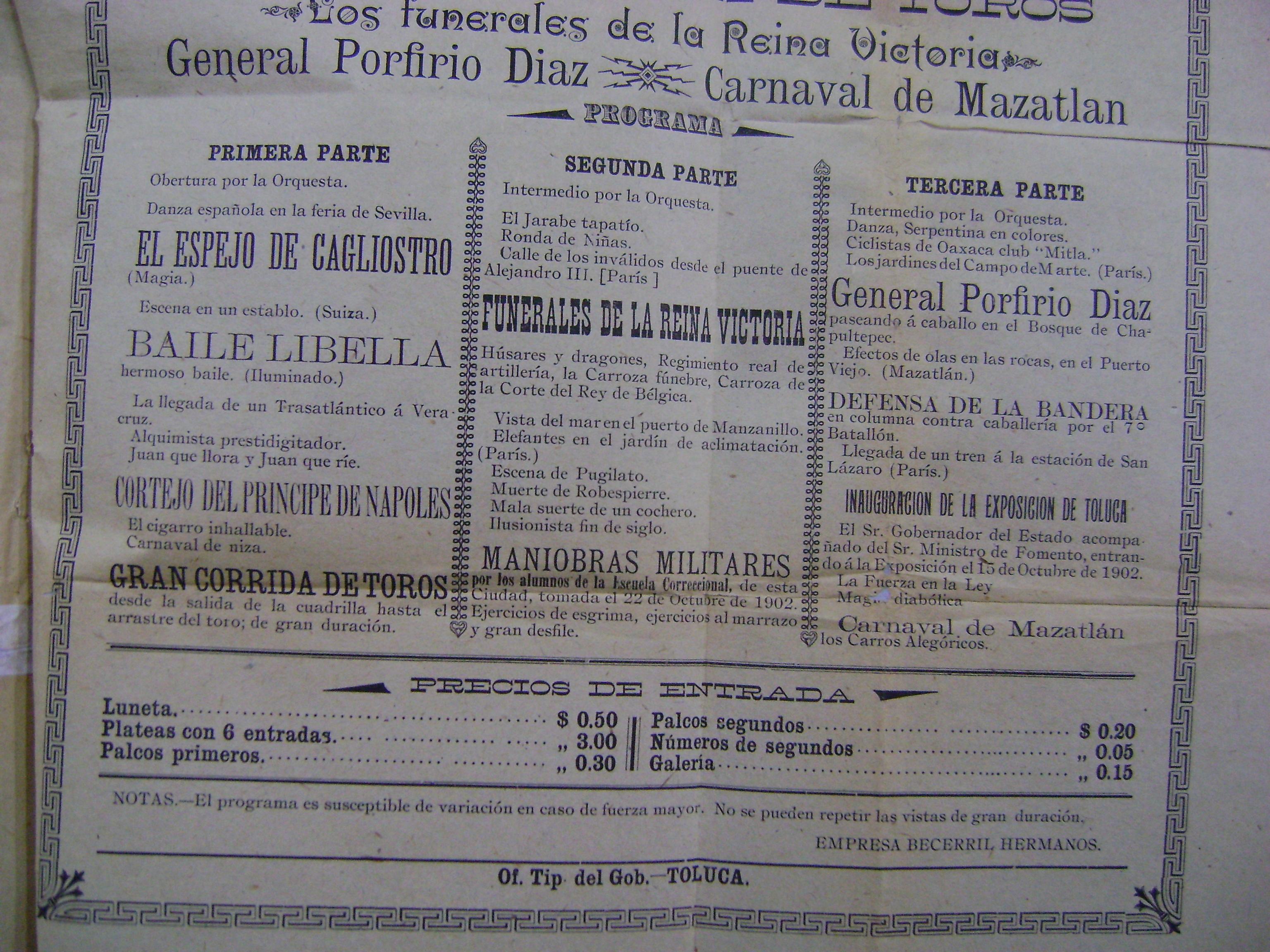 Cartel del Teatro Principal del 26 de octubre de 1902