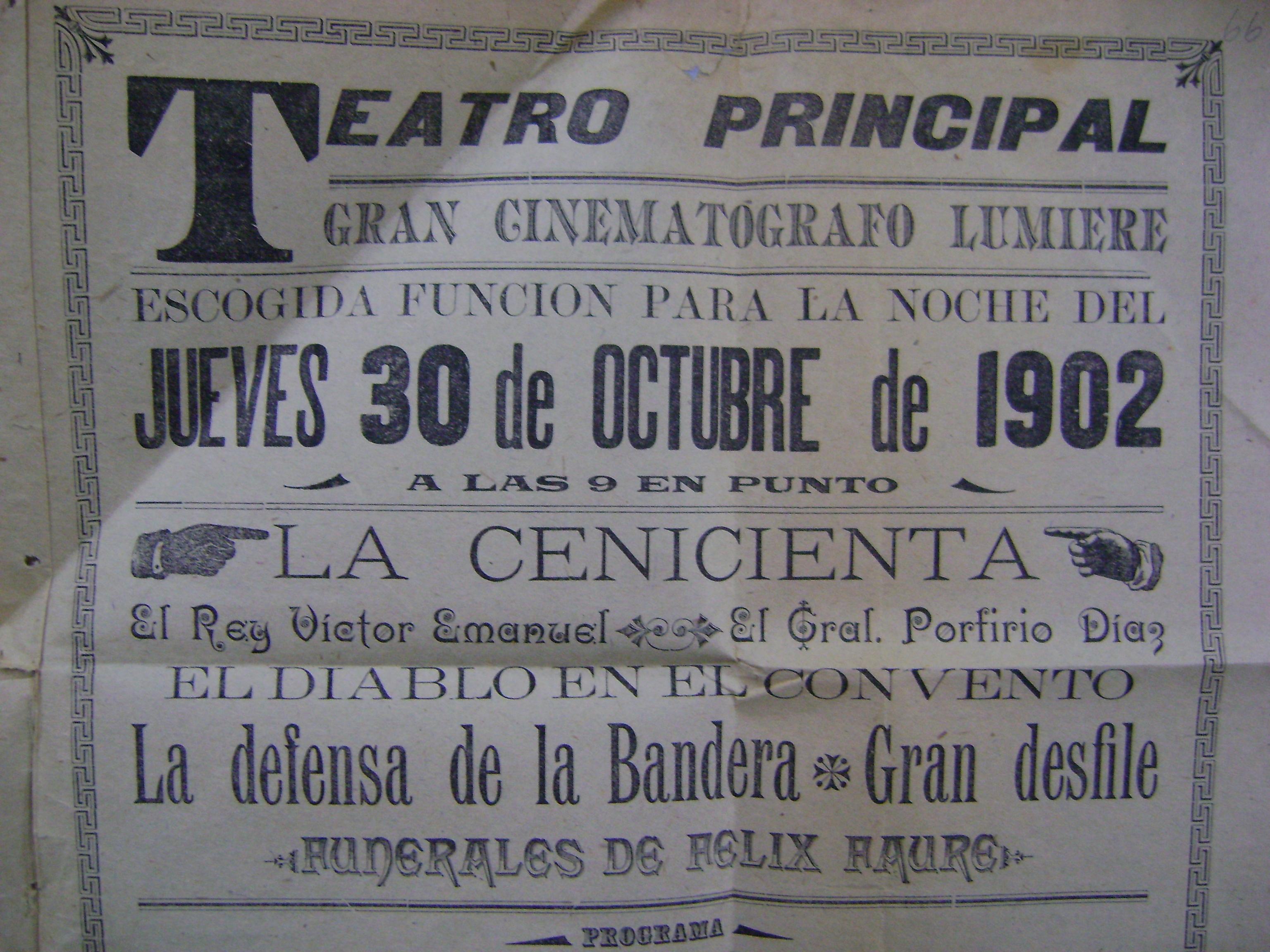Cartel del Teatro Principal del 30 de octubre de 1902