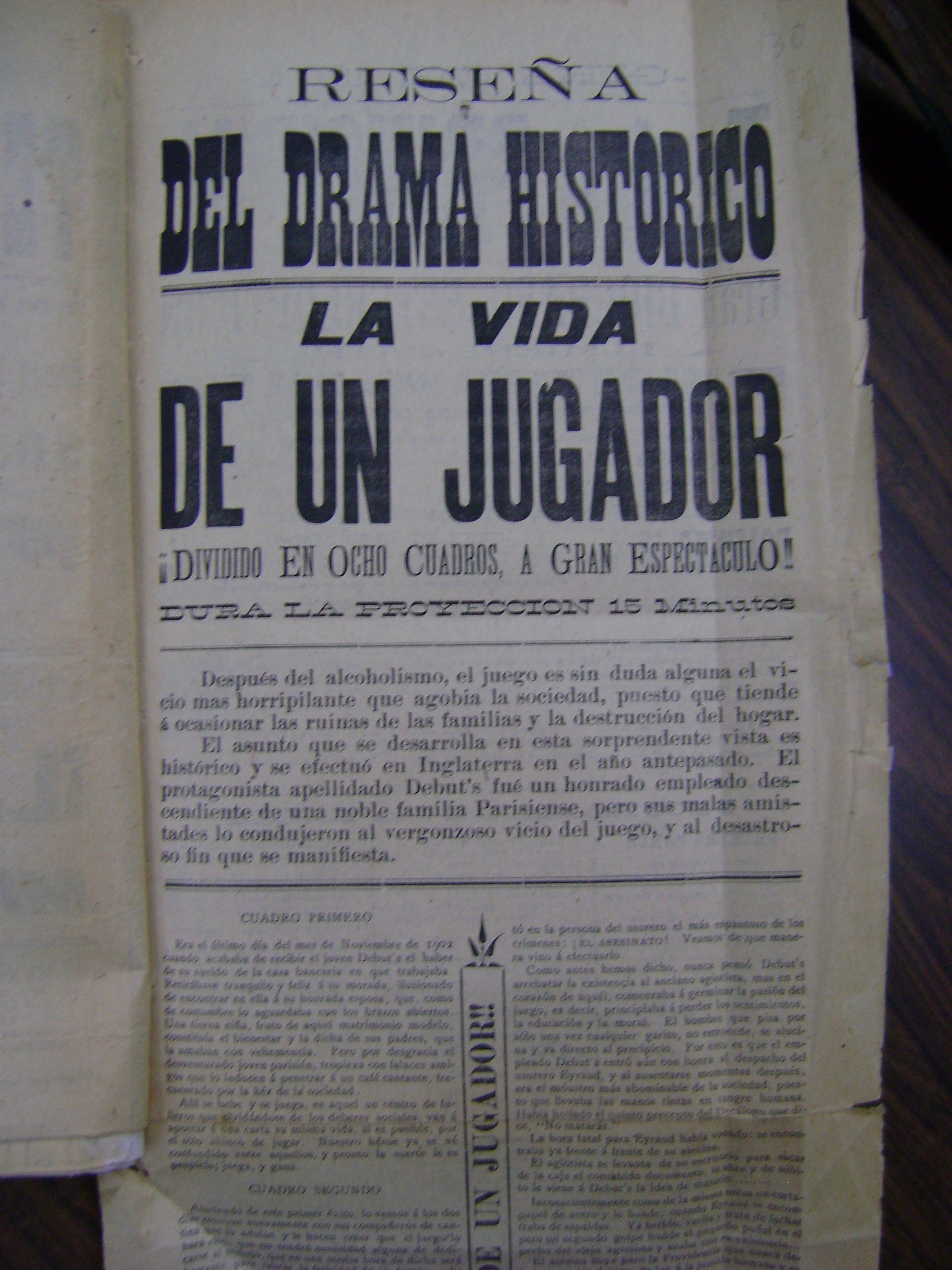 Reverso del cartel del 10 de julio de 1904