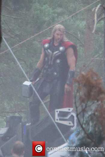 Chris Hensworth como Thor durante as Gravações