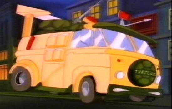 Furgão das tartarugas-ninja no desenho animado.