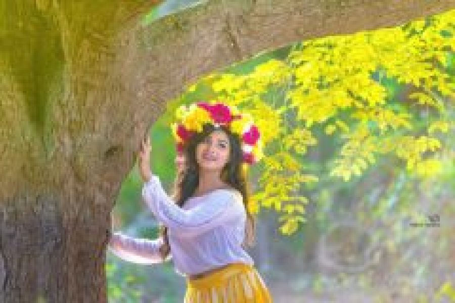 Sharanya Sundaraj with White top & yellow bottom