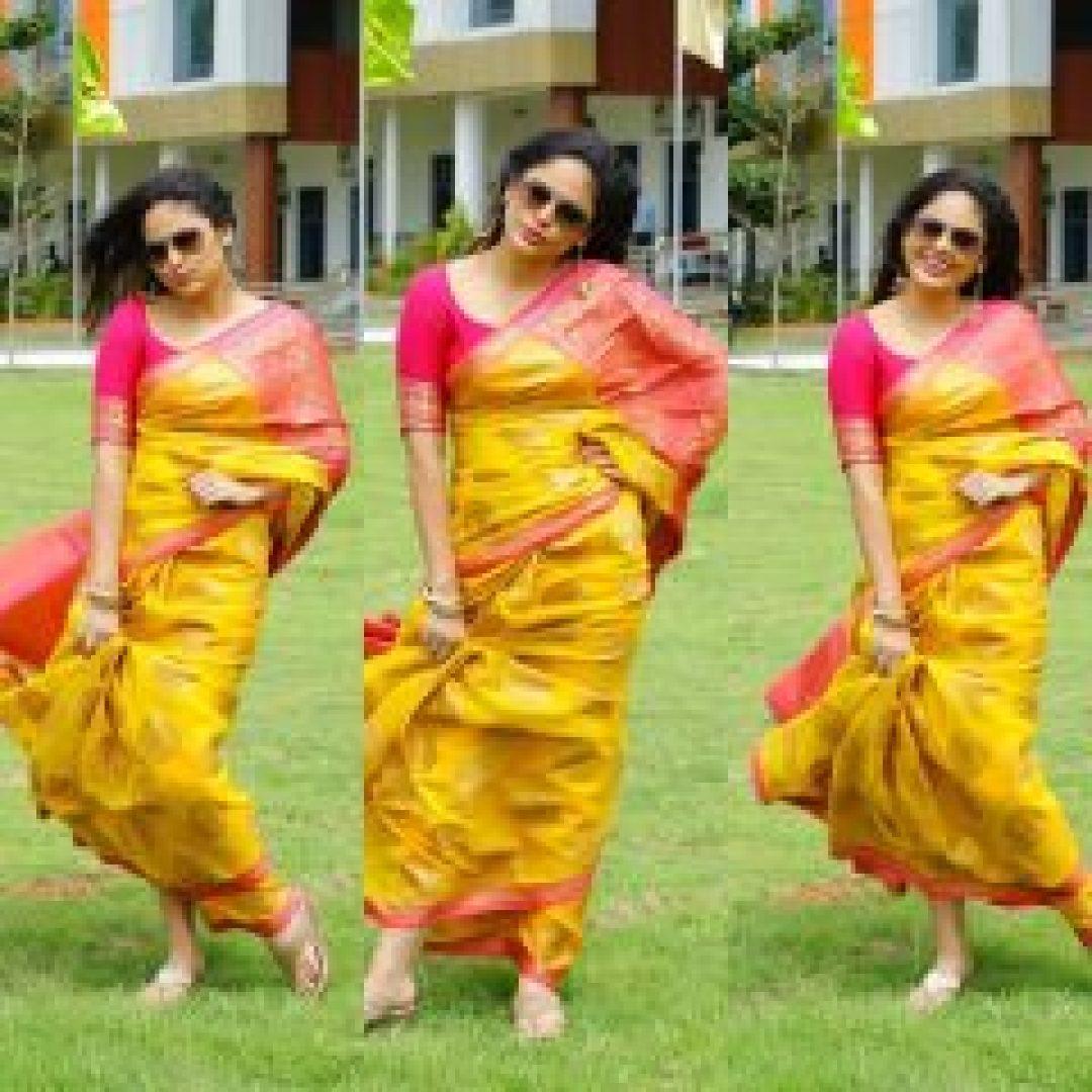 nandita swethaa yellow saree